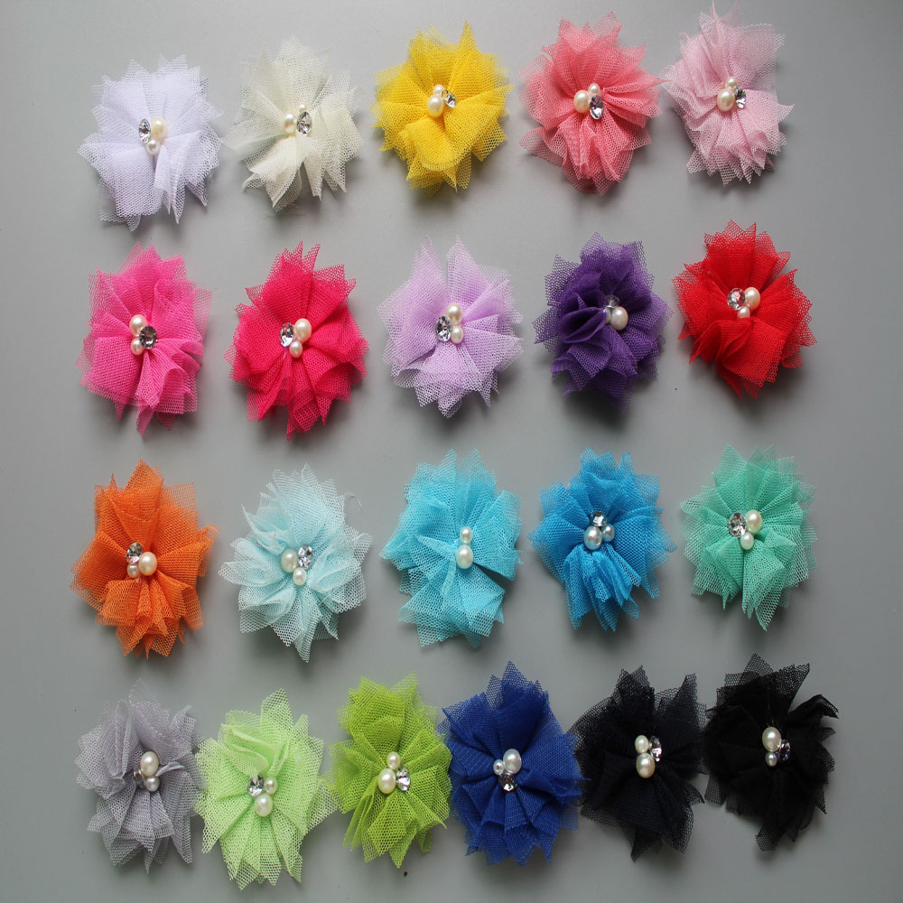 Wholesale  Mini Tulle Mesh Chiffon Flower With Rhinestone Pearl  Flat Back 16 Color Hair Accessory 1000pcs/lot Free Shipping