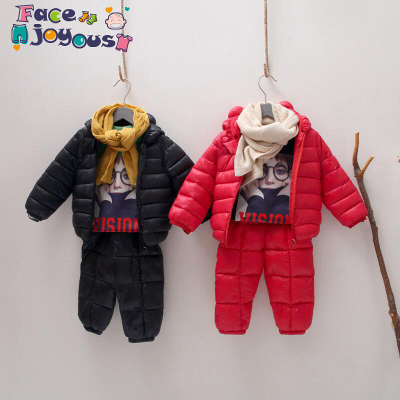 Winter Kids Clothing Set Warm Duck Down Cotton Jackets Clothes Sets Baby Girls & Boys Down Suit 2pcs Children Coats Pants 1-5y комплект одежды для мальчиков kids clothes sets 2 bib 6m 5y boys clothing sets