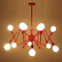 12 свет подвеска паук подвесной светильник черный красный цвет ретро промышленной Спутниковое лампы Кунг E27 6 Вт светодиодные лампы теплый б