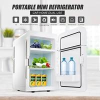20L 12V/220V 65W Portable Refrigerator Car Home Caravan Boat Fridge Cooler/Warmer Dual Core 2 Door Design 3 Layers To Storage