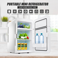 20L 12V/220V 65W Portable Refrigerator Car Home Caravan Boat Fridge Cooler/Warmer Dual Core 2 Door Design 3 Layers To Storage