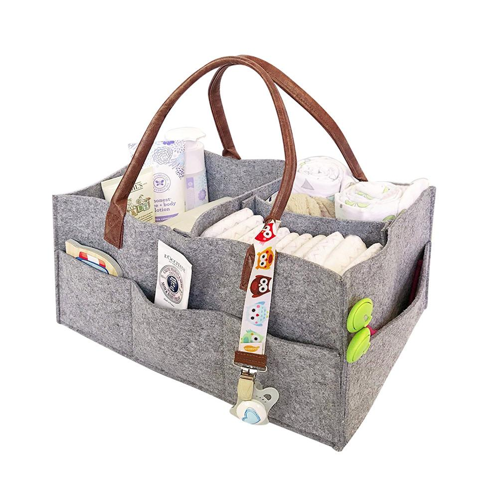 Felt cloth Storage Bag,Foldable Baby Large Size Diaper Caddy Changing Table Organiser Toy Storage Basket Car Travel Organizer 40