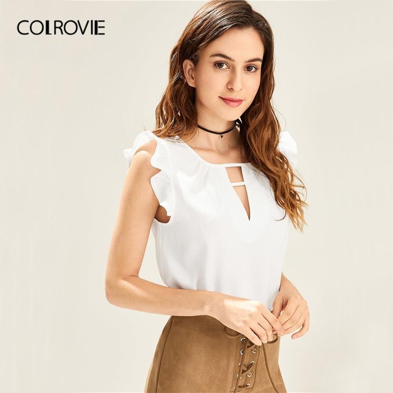 COLROVIE White Solid V Cut Neck Ruffle Shoulder Elegant   Blouse     Shirt   Women 2019 Summer Korean Style Sleeveless Sexy Ladies Tops