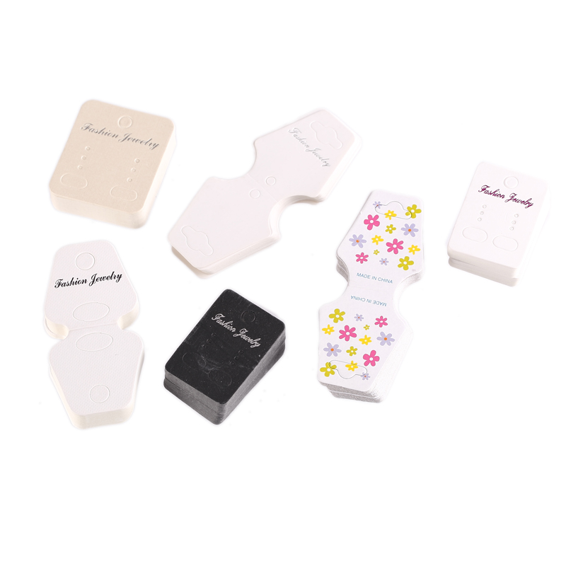 New Arrival 100pcs/lot 6 Styles Hooks Earring Plastic Ear Studs Holder jewelry hair clip Display Cards