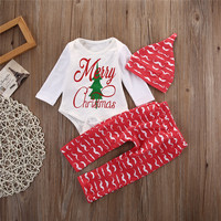 Baby Kids Long Sleeve Cotton Clothes Sets Fashion Christmas Clothing Wear Tops Romper And Pants Hats 3PCS Boutique Outfits