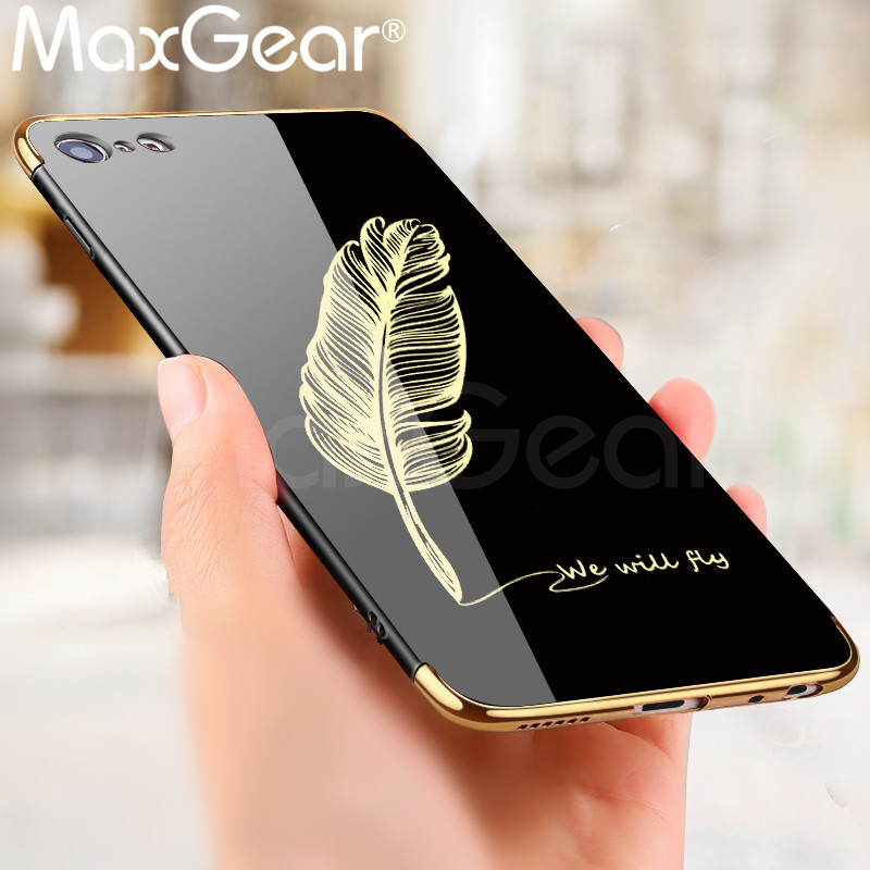 MaxGear Feather Patterned Cartoon Case For iPhone 6 6S 7 8 Plus X Mirror Phone Cover For iPhone Case 7 Plus Hard Back Funda Capa