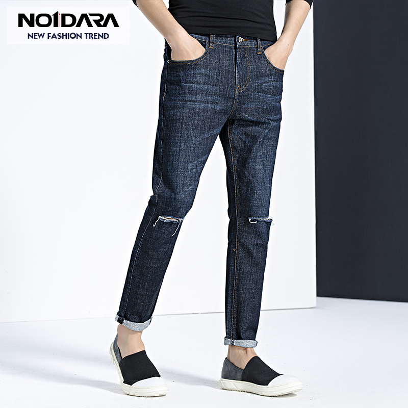 No.1 dara 2018 New jeans male feet pants Slim mens summer straight stretch casual jeans pantalon jeans hommes moda hombre 2018