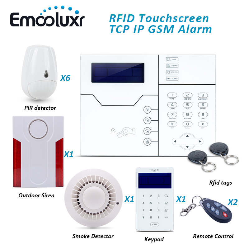US $260 0 |DIY GSM Network Alarm System ST VGT Touchscreen Keypad Alarm  with Pet Immune PIR Detector and Outdoor Lound Siren-in Alarm System Kits  from