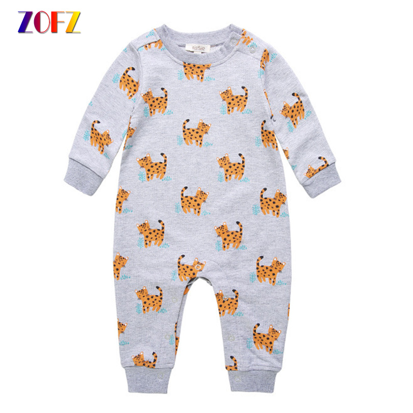 ZOFZ Baby Clothes Cartoon Printed Rompers For Boys O-Neck Long Sleeve One Piece Bebes Romper Cotton Cute Baby Clothing For Girls