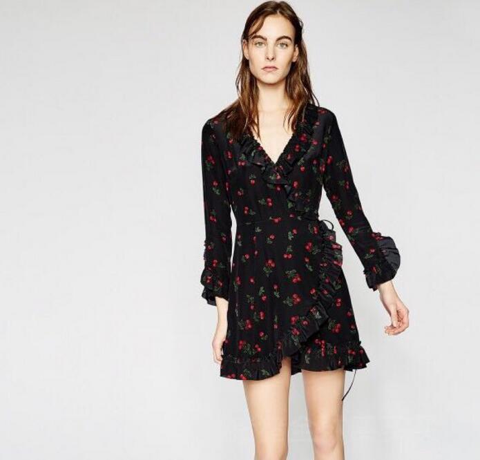 Women 100% Silk Black Cherry Print Wrap Dress Long Sleeve Ruffle Deep V Neck  Sweet Mini Dress 946f31e89