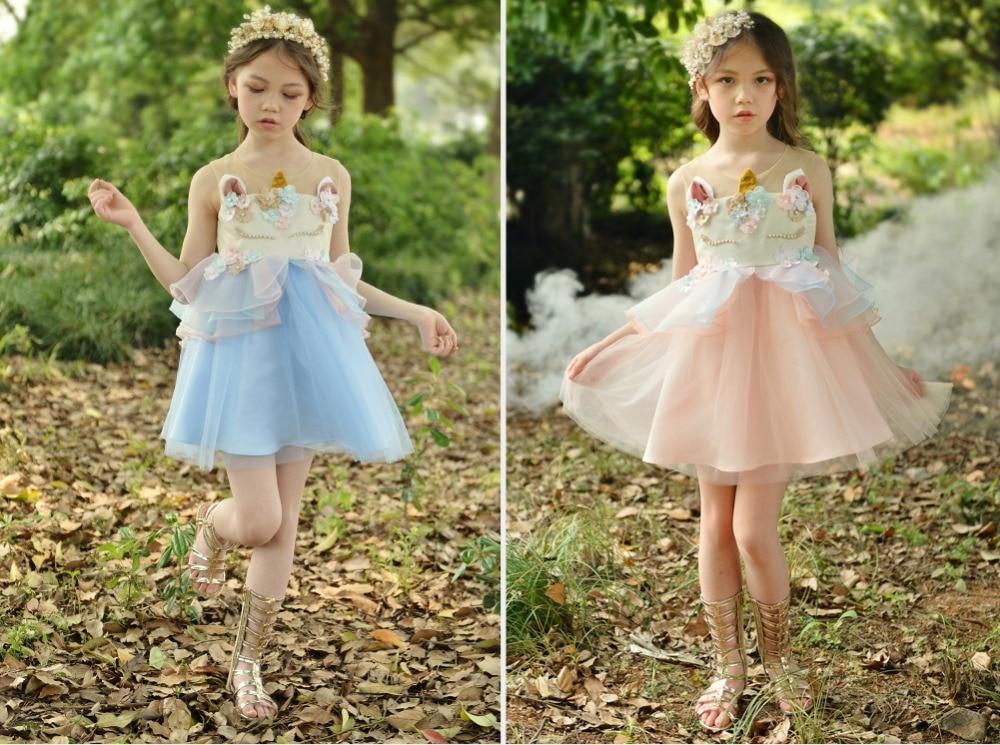 Lovely Kids Dress Unicorn dla dziewczynek Haft Flower Ball suknia - Ubrania dziecięce - Zdjęcie 6
