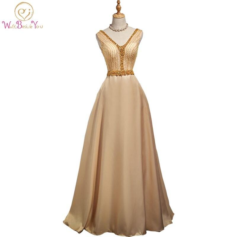 Walk Beside You Burgundy   Evening     Dresses   Long 2019 Gold Satin Beaded Crystal V neck vestido de fiesta largos de noche elegante