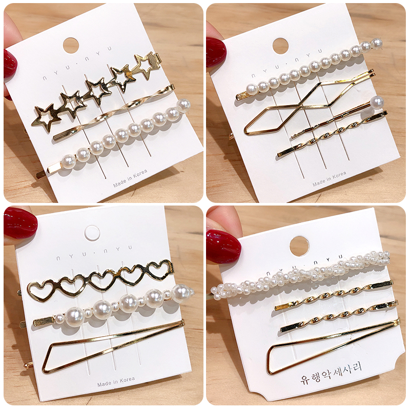 2019 New 1 Set Women Girls Elegant Pearls Hair Clips Sweet Headwear Hair Ornament Hairpins Barrettes Headband Hair Accessories