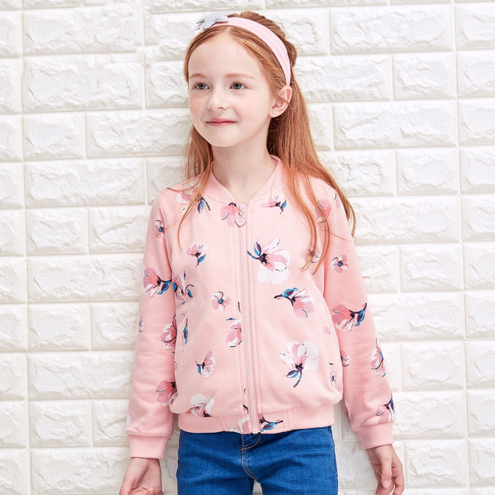 ФОТО Coat for Girls Big Girls Clothes Child Floral Kids Baseball Collar Style Clothes Sport Jacket 5 6 7 8 9 10 11 12 13 14 Years Old