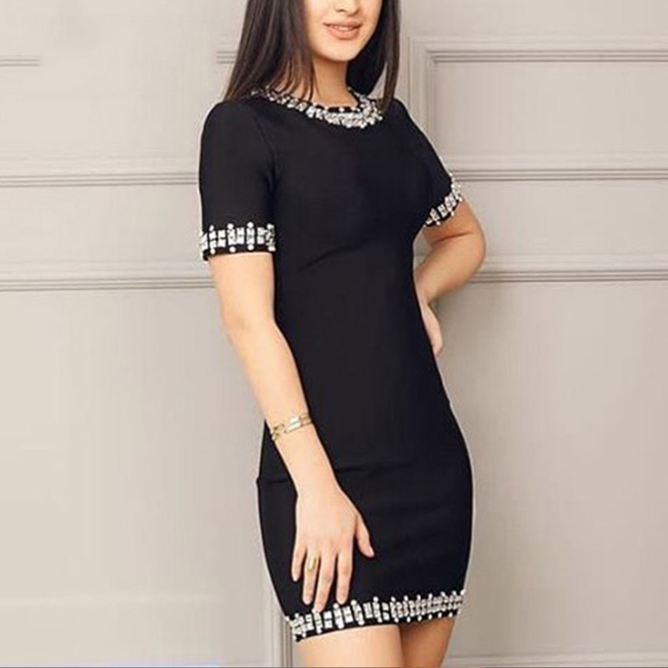 Seamyla Women Beaded Bandage Dress Sexy Short Sleeve Club Evening Party Dresses Vestidos 2019 New Summer Black Bodycon Dress