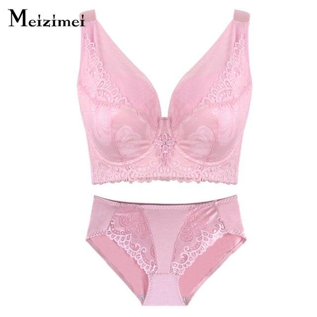 78c534a235 Meizimei Plus Size Women Underwear Bra Set Lingerie Panties And Bra E F Cup  Lingerie Lace Push Up bras bralette Big Size panty