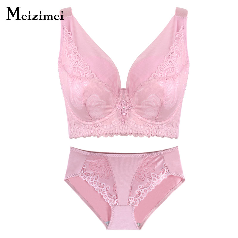 Meizimei Plus Size Women Underwear   Bra     Set   Lingerie Panties And   Bra   E F Cup Lingerie Lace Push Up   bras   bralette Big Size panty