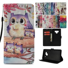 LUCKBUY 3D Printed Lovely OWL Birds Leather Card Holder Magnetic Flip Wallet Cover For Samsung Galaxy S8 S9 Plus Note 8 9 Coque