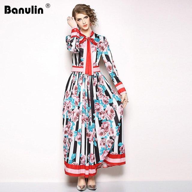 190028b60d High Quality Long Maxi Dress 2018 New Fashion Runway Design Full Sleeve  Vintage Print Floral Party Dresses Vestidos De Festa