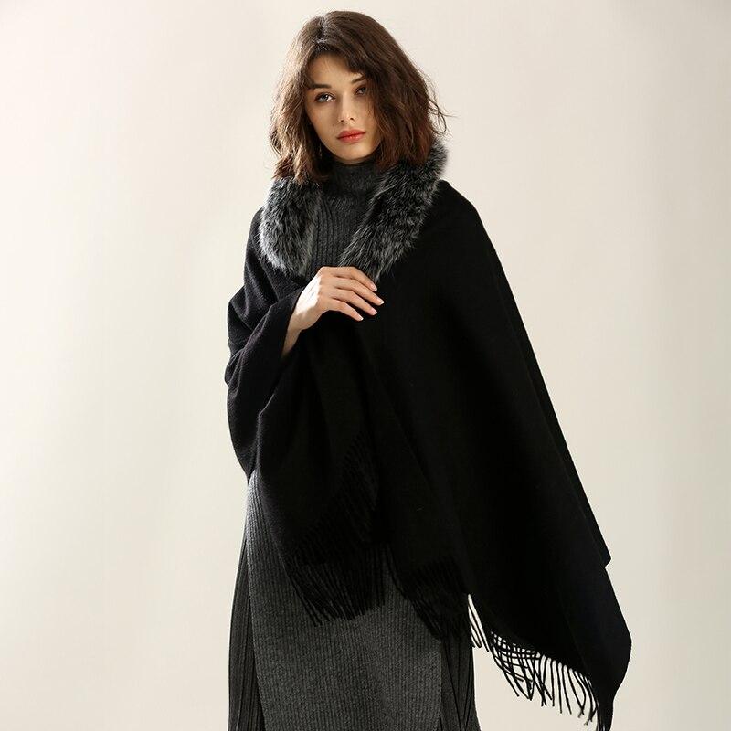 Свободные Шерстяные тканые Пончо Накидки для женщин тканые Кашемир шаль шарф зима с натуральным лисьим меховая отделка воротник