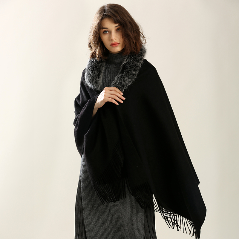 Loose Wool Woven Ponchos Capes women's woven cashmere shawl scarf winter with natural fox fur trim Collar