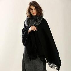 Losse Wol Ponchos Capes vrouwen geweven kasjmier shawl sjaal winter met natuurlijke fox bont Kraag