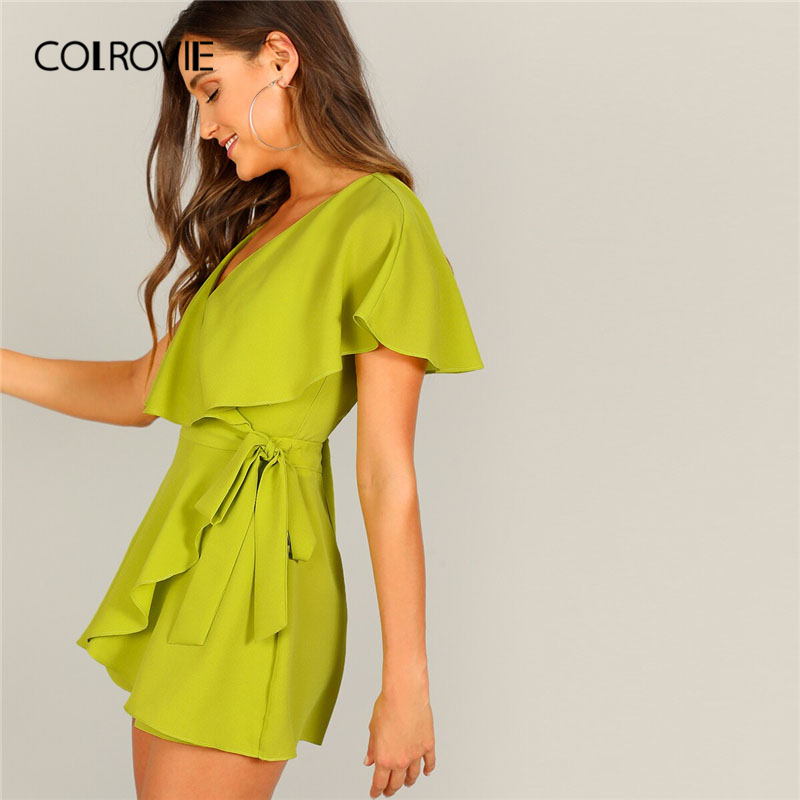 COLROVIE Neon Lime Mustard Surplice V Neck Wrap Knot Sexy Rompers Womens Short   Jumpsuit   2019 Summer Wide Leg Holiday Playsuit
