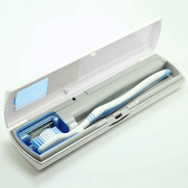 Battery Powered Flat Box UV Sanitizer Toothbrush Cleaner Toothpaste Holder Sterilizer Device