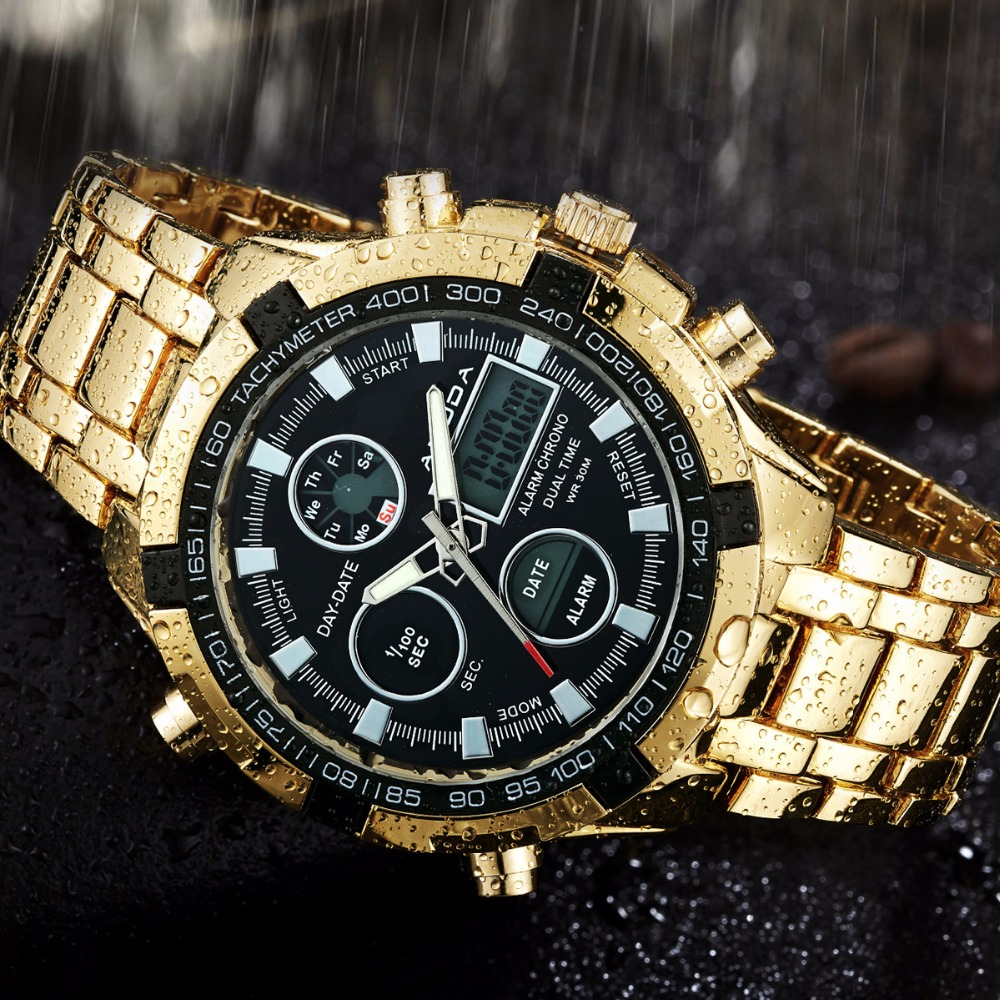 15472112bd0e Completa de acero reloj de oro Masculino Hombre Deporte Militar reloj  Digital Led luz trasera Relojes hombres en Relojes de cuarzo de Relojes en  ...