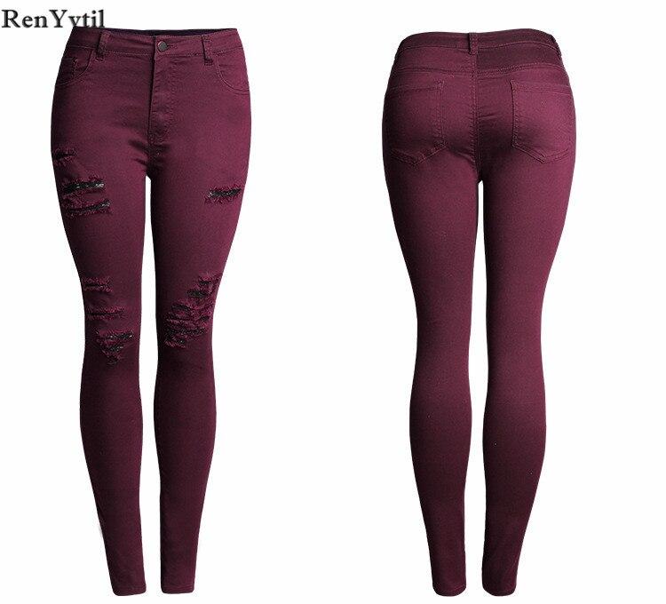 RenYvtil Nouvelle 2017 De Mode Chaude Dames Coton Denim Pantalon Stretch  Femmes Bleach Déchiré Genou Skinny Jeans ... 17025ce2a9a2