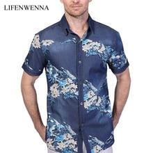 2017 neue Sommer herren Jeanshemd Mode Marke Print Kurzarm blume Hemden Männer Casual Slim Fit Herren Baumwolle Hemd 4XL 5XL