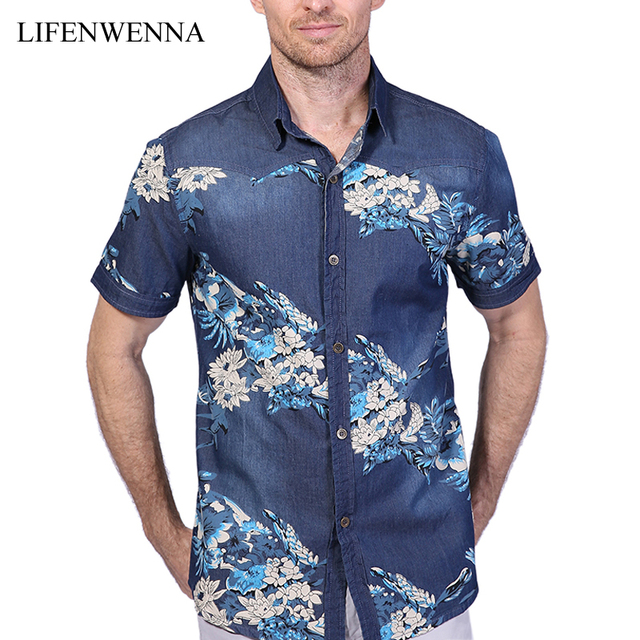 7b7c370af92 2019 New Summer Men s Denim Shirt Fashion Brand Print Short Sleeve Flower  Shirts Men Casual Slim Fit Mens Cotton Shirt 4XL 5XL