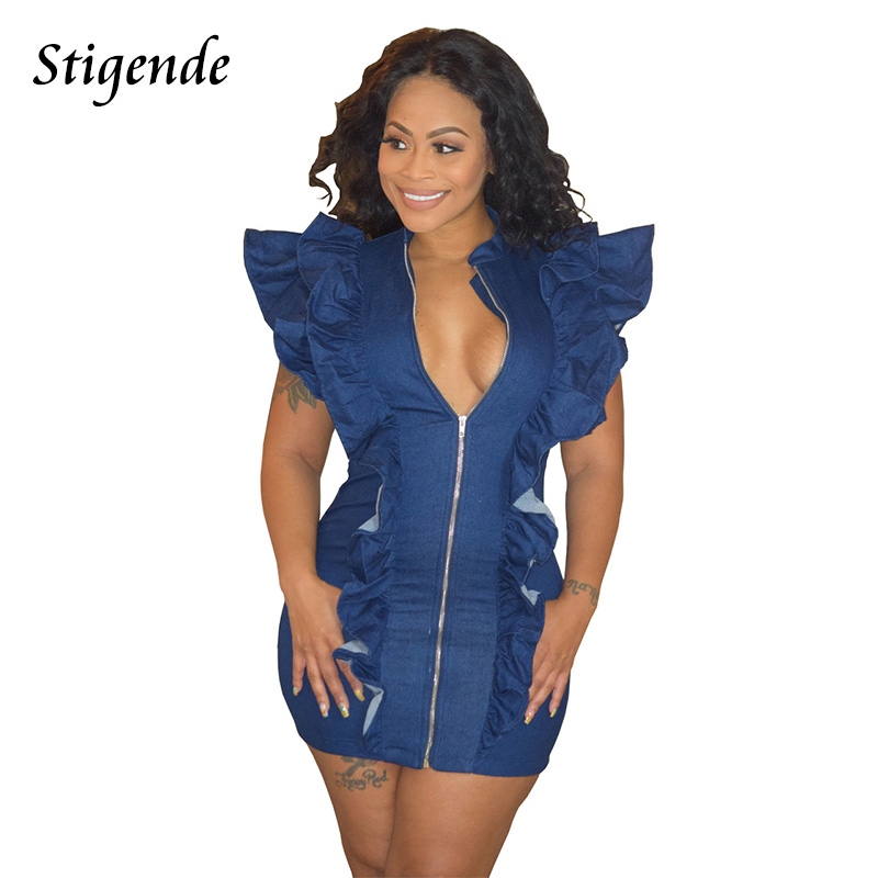 Neck men jeans bottom ruffle in with bodycon dress