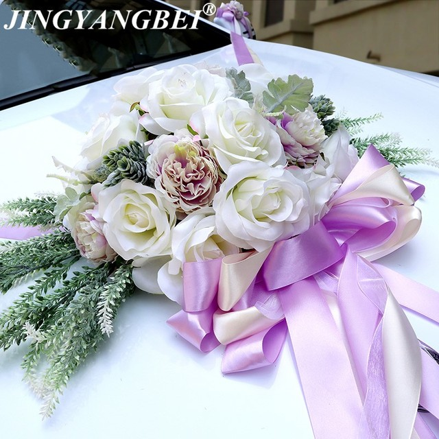 Aliexpress buy 2018 artificial silk rose fake plants ribbon 2018 artificial silk rose fake plants ribbon bow wedding car decoration set wedding supplies diy wreath mightylinksfo