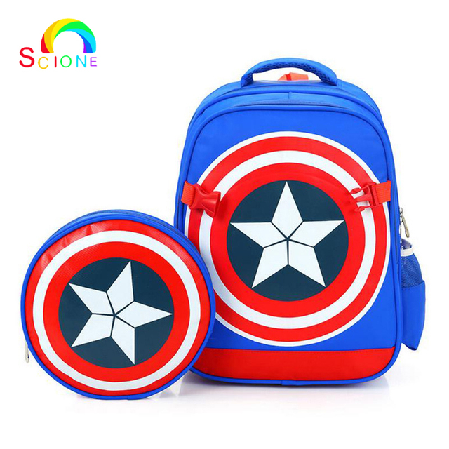 5d6b3ec998fc new school backpacks avengers captain america cartoon style schoolbags for kids  children shoulder bags mochila infantil ZZ214