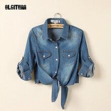 Женская джинсовая куртка сельская летняя с шалью укороченные джинсовые куртки пять рукавов джинсовый светильник/темно-синий Chaquetas Mujer BS063