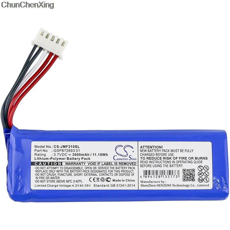 Cameron sino 3000 mah bateria gsp872693 01 para jbl flip 4, flip 4 edição especial