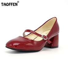 Taoffen/Размеры 33-43 Женская обувь на высоком каблуке женские туфли-лодочки острый носок толстый каблук лакированные кожаные туфли Jane металлической пряжкой обувь