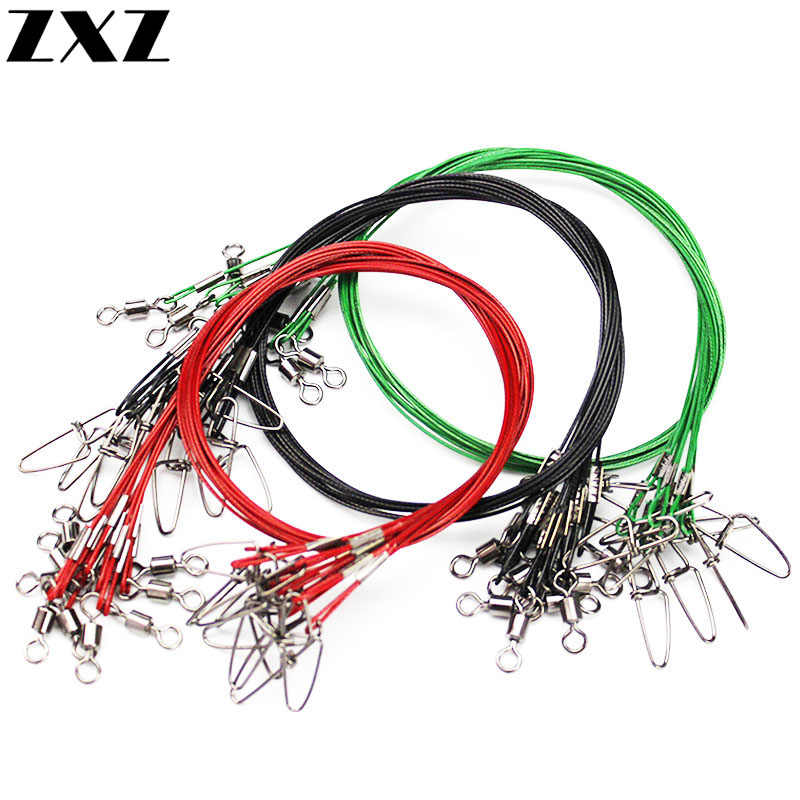 20Pcs 50cm Fishing Trace Lures Leader 1mm Carbon Steel Wire Line Leaders