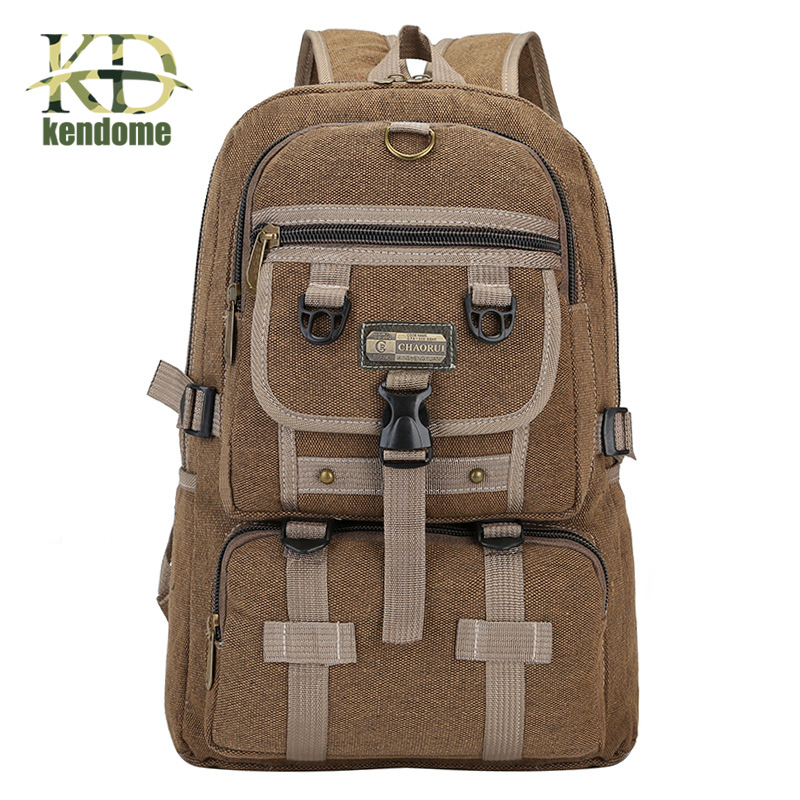 K&D Large Capacity High Quality Canvas Outdoor Sport Backpack Students Bag Schoolbag Camping Hiking Travel Rucksack for Teenager
