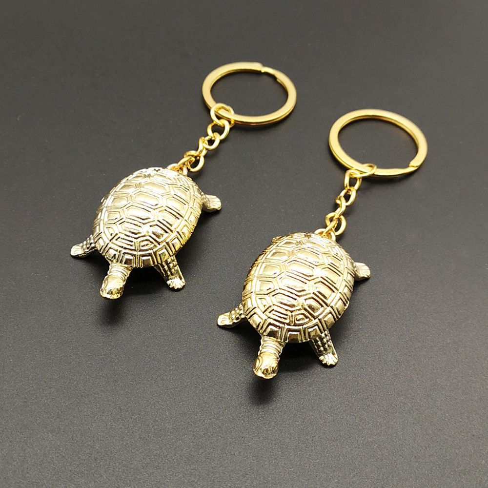 2pcs Golden Money Turtle Lucky Fortune Wealth Home Office Decoration Tabletop Ornaments Lucky Gifts Without Key Rings