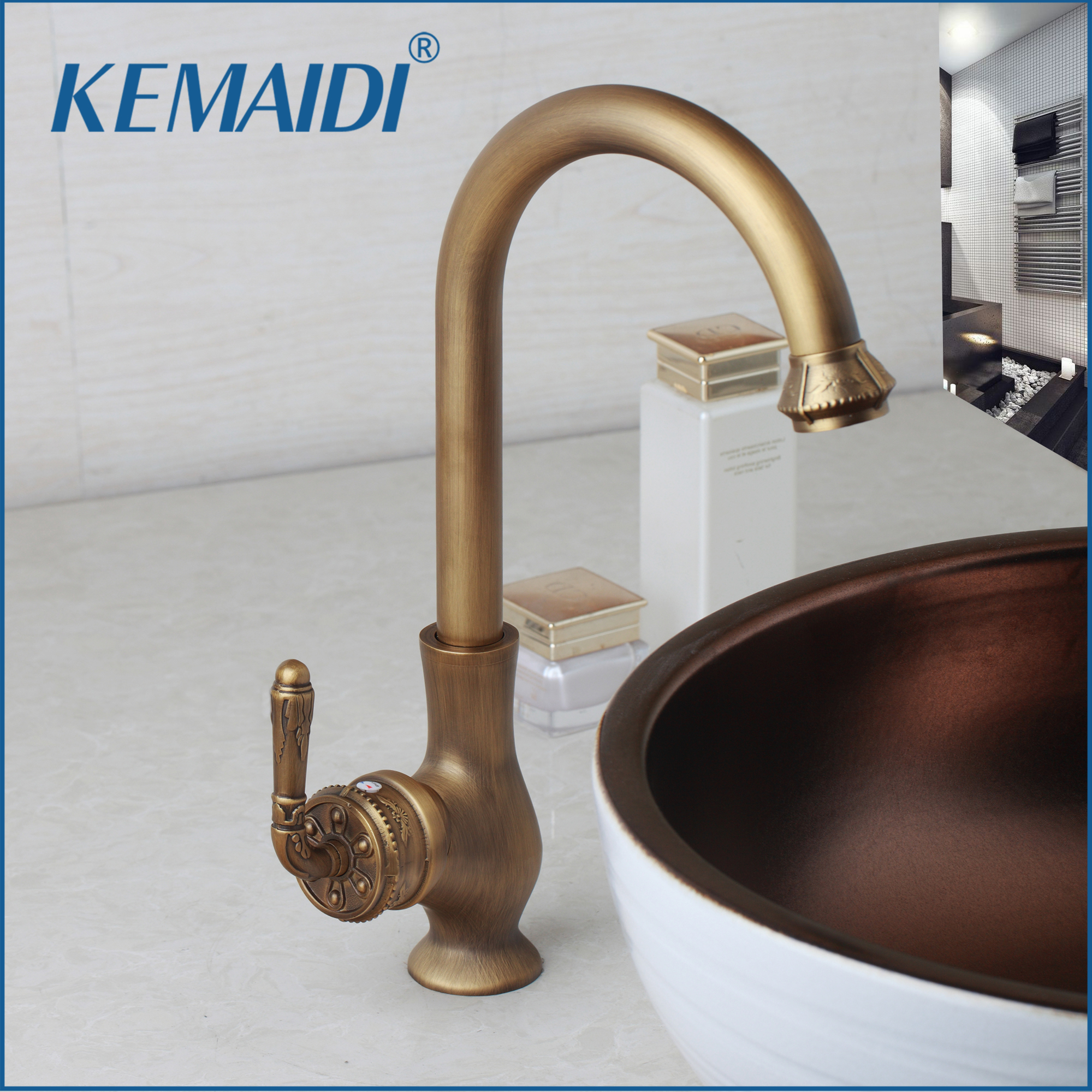 KEMAIDI Bathroom Faucet Tap Brass Basin Mixer Tap Faucet Vintage Engraved Handle Roatated Antique Brass Kitchen Sink Swivel kemaidi 3 pcs antique brass