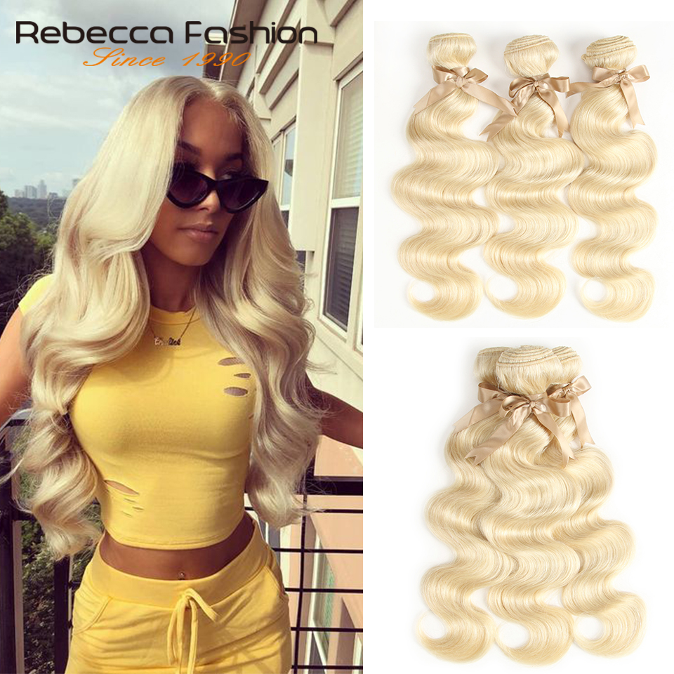 Rebecca <font><b>613</b></font> Honey Blonde <font><b>Bundles</b></font> Peruvian <font><b>Body</b></font> <font><b>Wave</b></font> <font><b>Hair</b></font> <font><b>Bundles</b></font> 100% Remy Human <font><b>Hair</b></font> Extensions 1/<font><b>3</b></font>/4 <font><b>Bundles</b></font> 10 to 26 Inches image