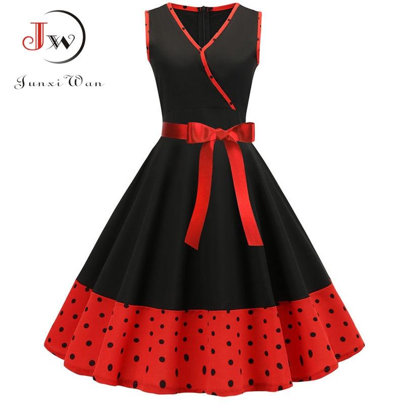 Black Patchwork Summer Dress 2019 Women Robe Femme Sexy V Neck Polka Dot Party Dress Plus Size Vintage Pin Up Rockabilly Dress