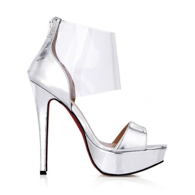 984cc8a480 Mulheres transparente tamanhos grandes plataforma aberta peep toe de salto  alto sandálias para festa à noite