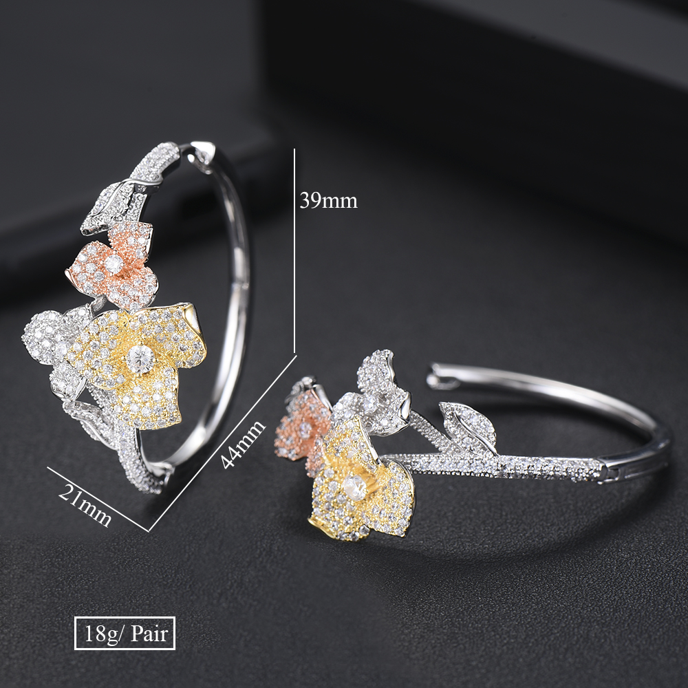 GODKI Luxury Flower AAA Cubic Zircon Statement Big Hoop Earrings For Women Wedding DUBAI Bridal Round Circle Hoop Earrings 2018