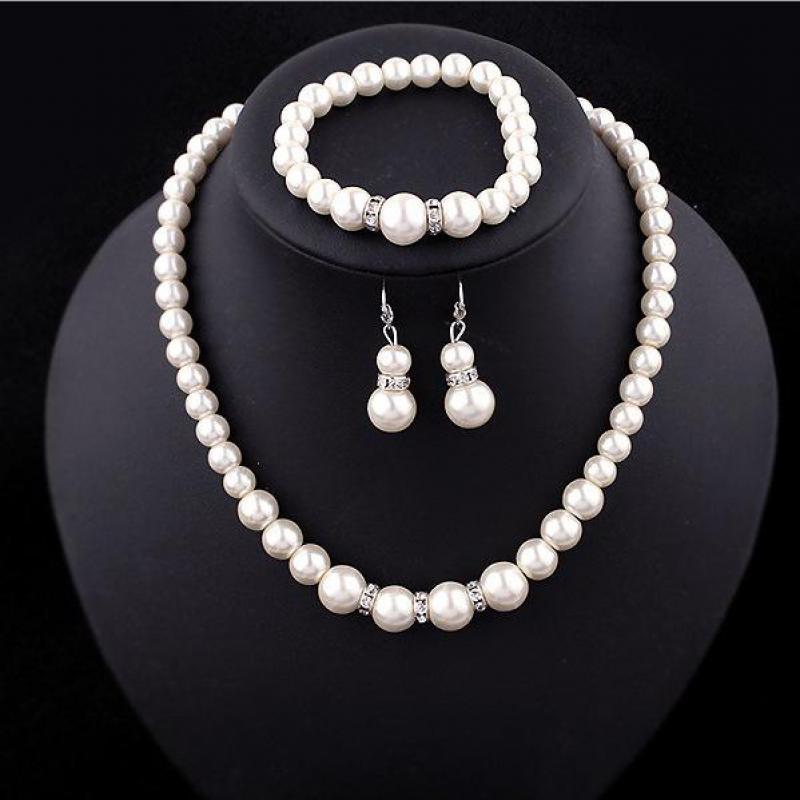 Simulated Pearl brand Luxury Necklace earrings Bracelet jewelry sets Necklaces & pendants women statement chocker 2017