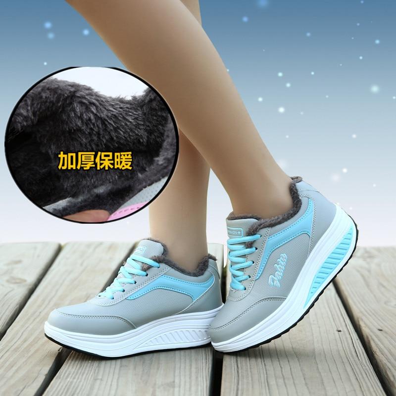 Женские зимние кроссовки качели на платформе дышащие плюшевые женская спортивная обувь женские увеличивающие рост Бег кроссовки Zapatos Mujer