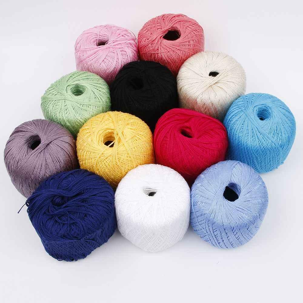 Commercio all'ingrosso 400 Metri di Cotone Cavo di Filo Lane E Filati per il Ricamo Crochet di Lavoro A Maglia di Pizzo Artigianale Strumento Mano Filo di Cucitura Strumento