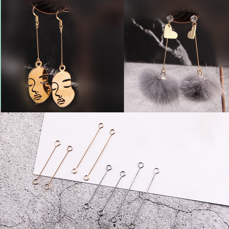 Double Hole Connector Stick Pins Ear Clip Diy Earring Pendant Accessories Material Jewelry Components 20pcs